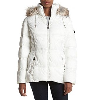 Laundry® Plus Size Faux Fur Hood Puffer Coat