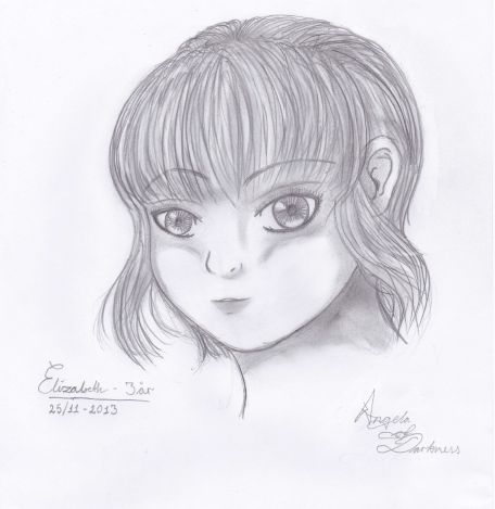 A picture of my niece, I have drawn in free-hand..