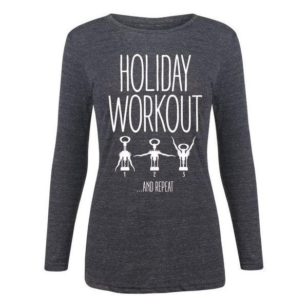 Women's Airwaves LLC Ladies Holiday Long Sleeve Tees L Holiday Workout... ($18) ❤ liked on Polyvore featuring tops, black, tops & tees, graphic tanks, special occasion tops, wine top, evening tops and wine tank tops