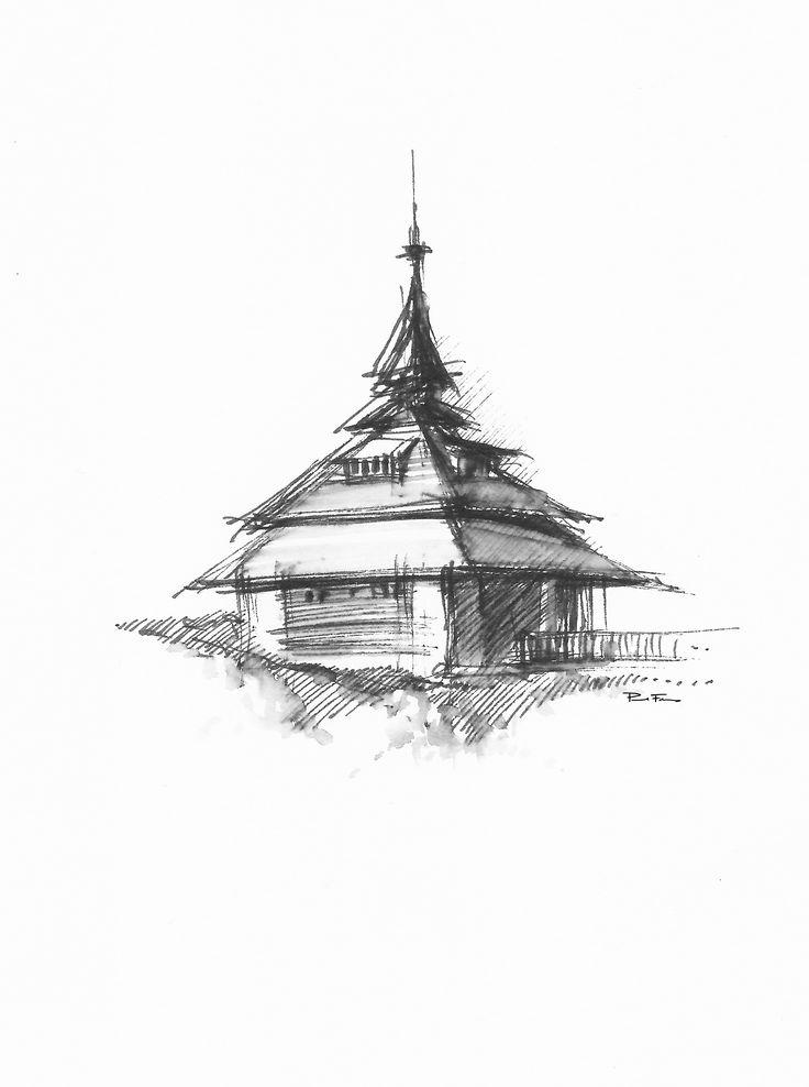 SOLÁŇ - Belfry-   Drawing on paper, , 10x20cm   © Pavel Filgas 2012   https://www.facebook.com/Pavel-Filgas-Art-500412180019911/ https://www.instagram.com/pavel_filgas_art/ https://twitter.com/PavelFilgas https://www.pavelfilgas.com, PAVEL FILGAS