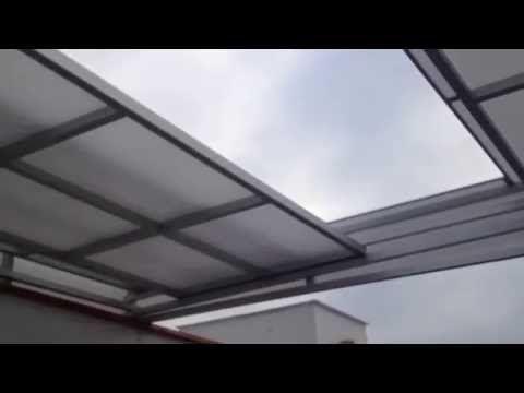 TECHO POLICARBONATO UN FIJO DOS CORREDIZOS - YouTube