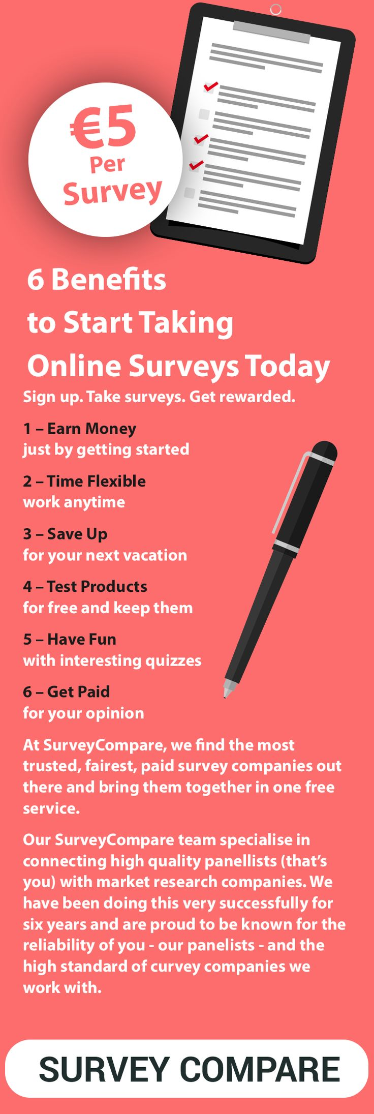 The amount of money you can earn depends on how many companies you choose to sign up for and how long you want to spend completing surveys. For instance, the average survey pays €5; taking 5 surveys a day, 5 days a week gives €500/month. Find out more by clicking on the image.
