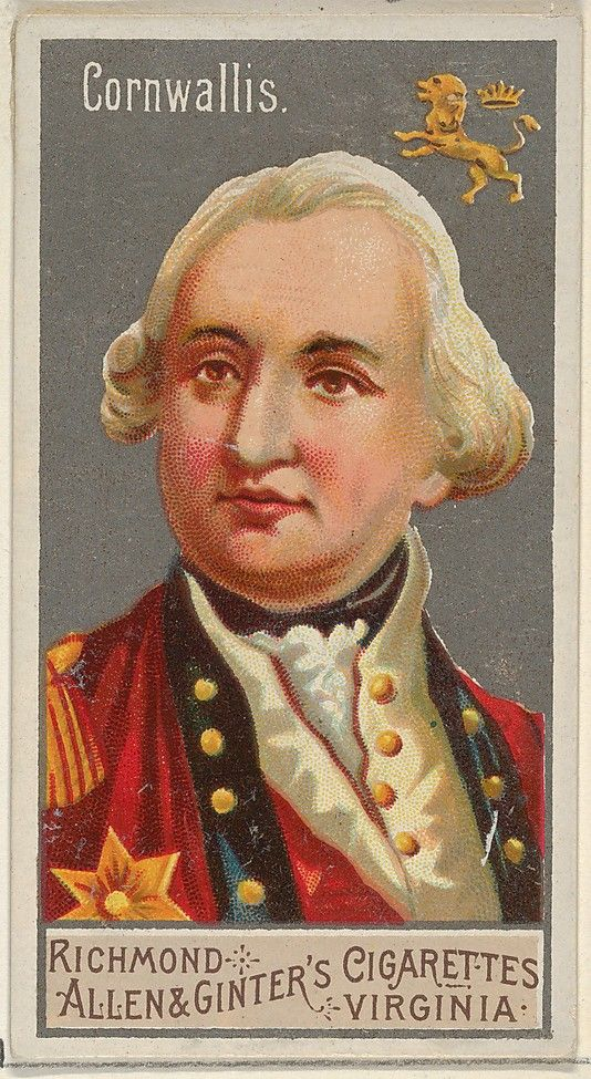Charles Cornwallis, 1st Marquess Cornwallis KG (31.12.1738|5.10.1.1805) Educated Eton & Cambridge. Visc. Brome 1753/1762; The Earl Cornwallis 1762/1792. British Army officer +colonial administrator. In the U.S. + UK, remembered as one of the leading British generals in the American War of Independence. His surrender in 1781 to a combined American +French force at the Siege of Yorktown ended significant hostilities in North America. Appointed Gov-Gen. + Commander-in-Chief in India, 1876.