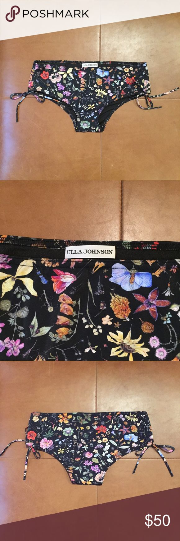 """ULLA JOHNSON Boho Black Floral Bikini Bottoms-Sz P *New without Tags-Never Worn*   Gorgeous boho chic black floral bikini bottoms by Ulla Johnson! Size Petite. Full cut. String detail. 14.5"""" across. 8.5"""" from band to crotch. 72% Polymide 28% Elastane. Dry clean only. Perfect condition, Zero flaws! Ulla Johnson Swim Bikinis"""