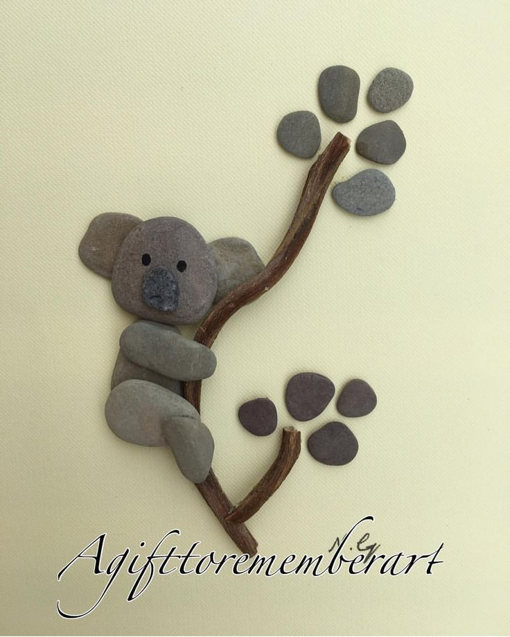 """""""Little koala"""" my kids collection continues. Looking for a perfect gift for a little person? These unique handmade pebble art are just what u need to make ur gift stand out! #agifttorememberart #pebbleart #kids #koala #handmade #art #unique #stone #nature #animals #australia #makersgonnamake #ocean #beach #frame #cute #newborn #kidsroomdecor #gift #madebyme #tree #leaves #photopftheday #babyshower #giftideas #etsy"""