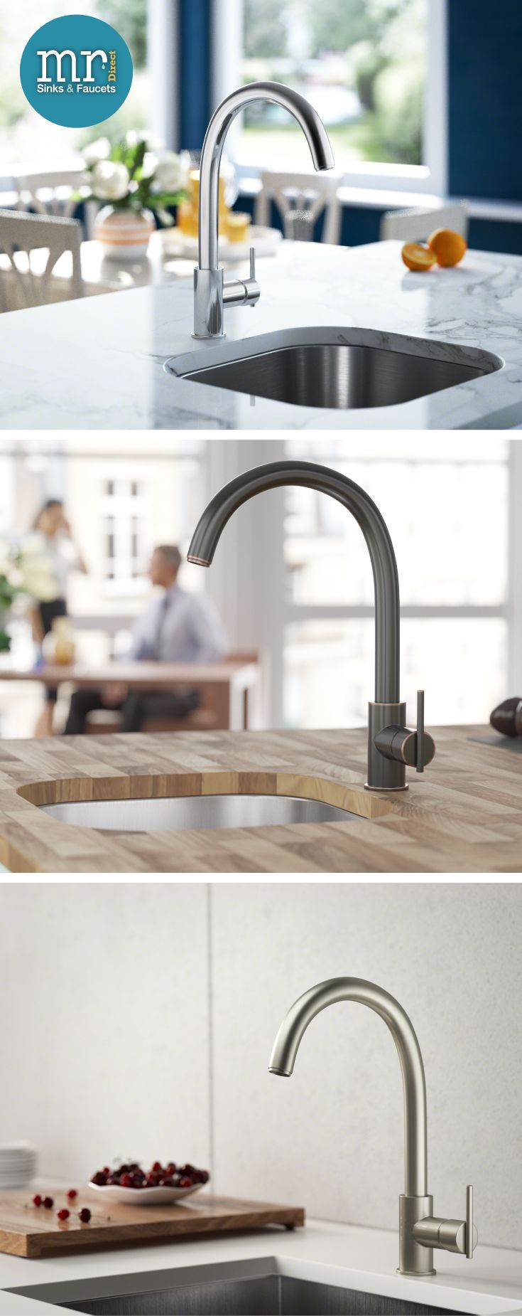 Bar faucets offered in a variety of finishes and styles to match every kitchen decor