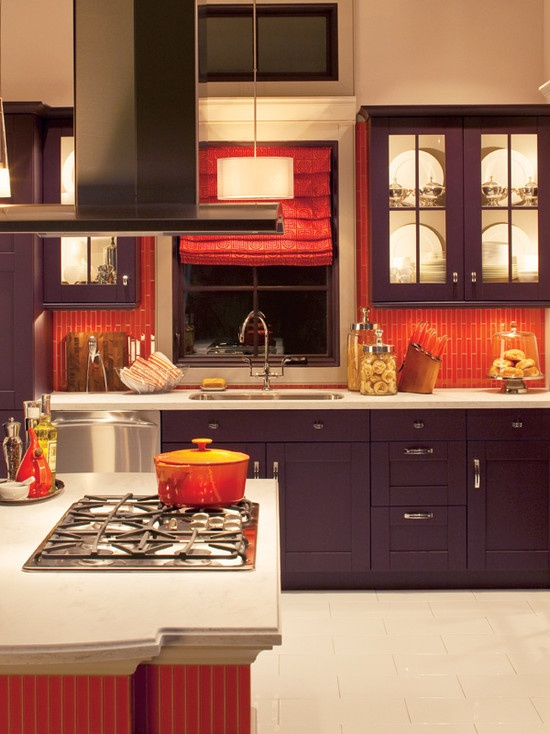 bright orange tile backsplash - photo #11