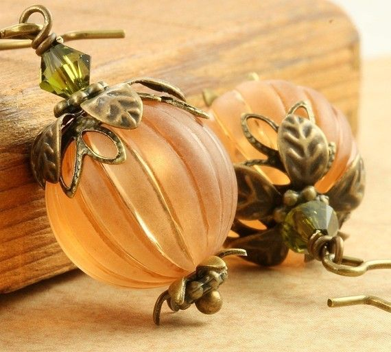 Pumpkin Earrings Halloween Earrings Orange by ForTheCrossJewelry