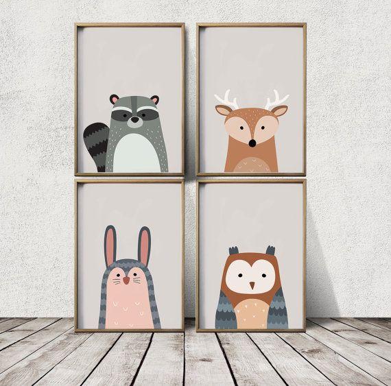 Unique Kinderzimmer Wand Kunst Woodland Kinderzimmer von LaPoster auf Etsy