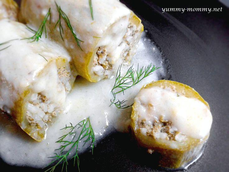 Stuffed marrows in egg-lemon sauce // Κολοκυθάκια αυγολέμονο