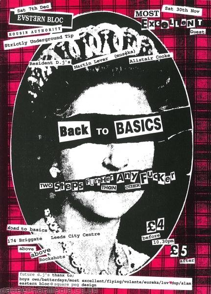 Back To Basics flyer. Leeds, November 1991.