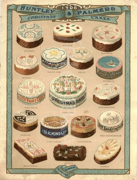 love it!!!  Christmas cakes advertisement 1906...