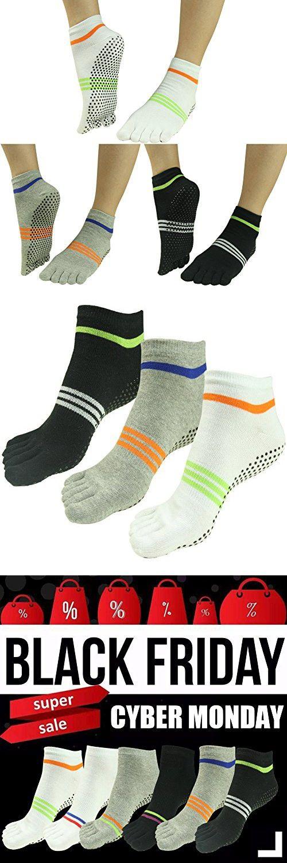 Toe Yoga Pilates Socks,Non Slip Skid Barre Socks,J'colour Barre Full Toe Socks with Grips 3 Pairs