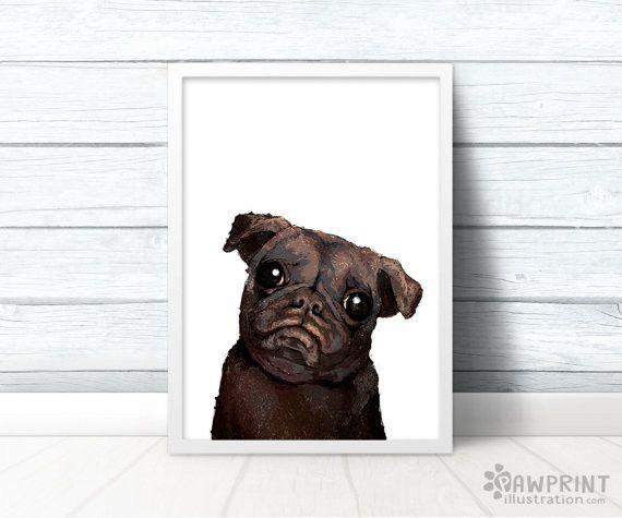 Black Pug Wall Print Pug Lover Gifts Black Pug Animal Art Prints