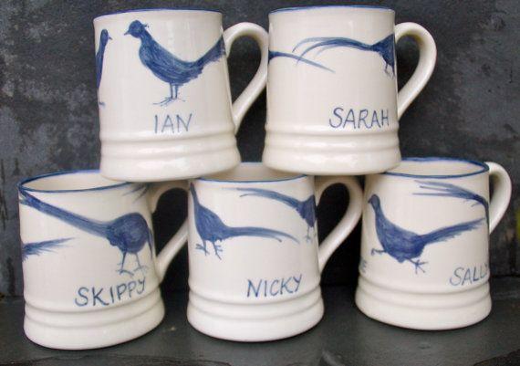 blue pheasants personalised wedding mugs by offtothestudio on Etsy, £19.00