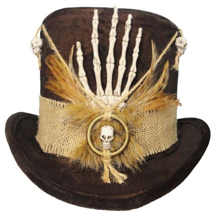 Witch Doctor Voodoo Tall Brown Top Hat Skull Bones Steampunk Gypsy Victorian | eBay