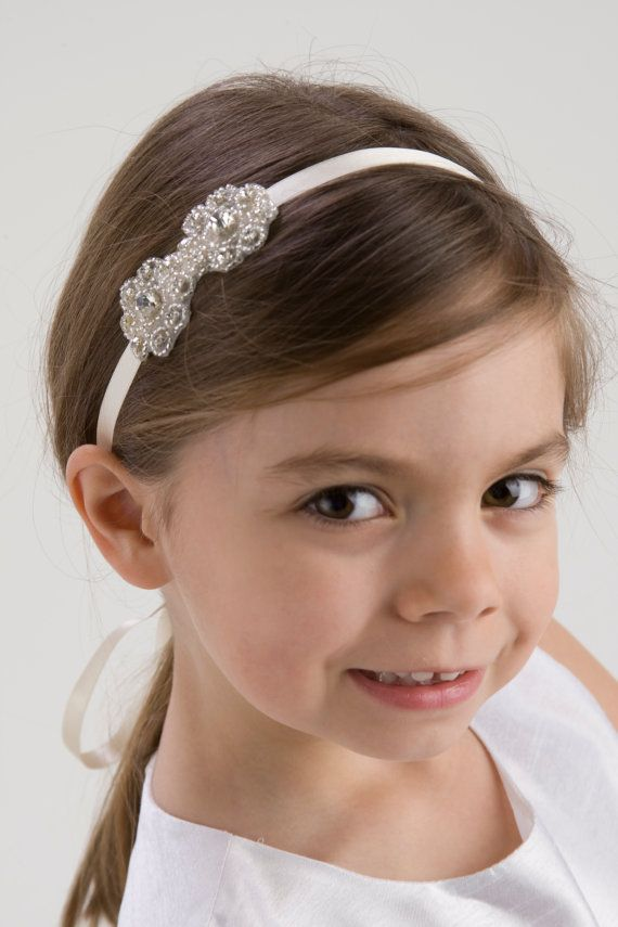 MADELINE, Flower Girl Headband, Rhinestone Headband, Wedding Headpiece, Rhinestone Beaded Headpiece, Halo, FREE SHIPPING