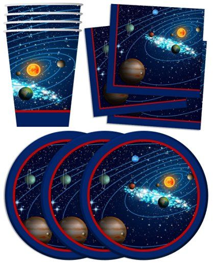 Solar System Outer Space Birthday Party Supplies Set Plates Napkins Cups…