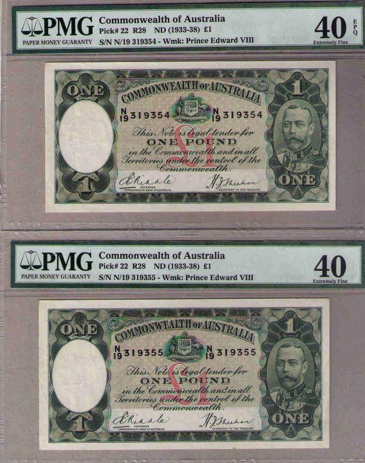 Australia, 1933 R28 Pick#22 £1, CONSECUTIVE PAIR Riddle/Sheehan, R28-PMG 40 EF