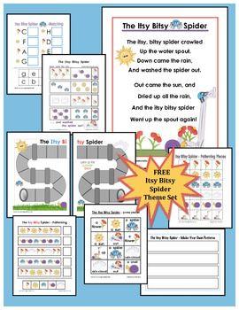 √ FREE Itsy Bitsy Spider Theme Set -Kindergarten