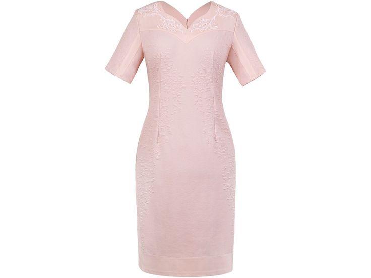 Sukienka Ludwika (50 rozm) - róż - chanelka_pl - Sukienki dla puszystych