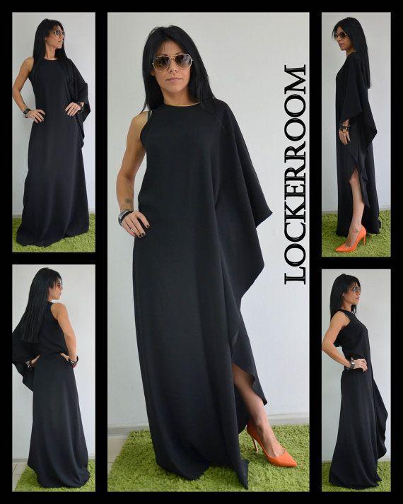 Long maxi dress/Plus size black dress by ClothesByLockerRoom