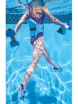 Aqua Jogger water fitness products for swimming pool exercise. Use for water aerobics, jogging in water and other bouyancy pool exercise routines. Floatation belts, aqua runners, and delta bells.