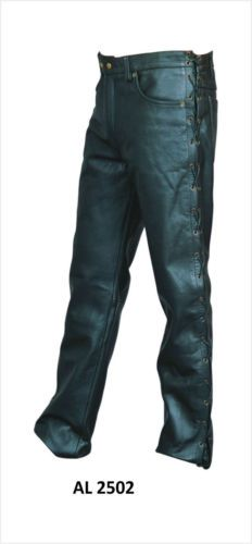 Mens-Black-Buffalo-Leather-Motorcycle-Pants-w-Side-Lace