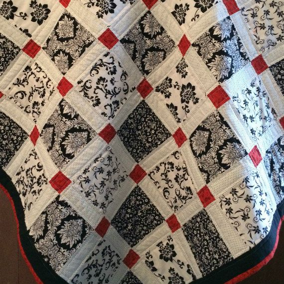 Modern Baby Quilt - Red, Black and White, Patchwork Crib Blanket, Nursery…