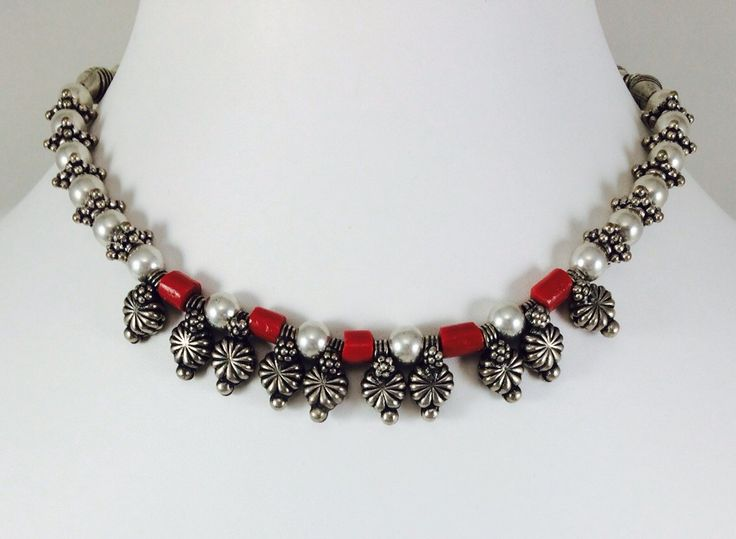 Hand made necklace is made of silver plated , and glass beads. Price- 20$