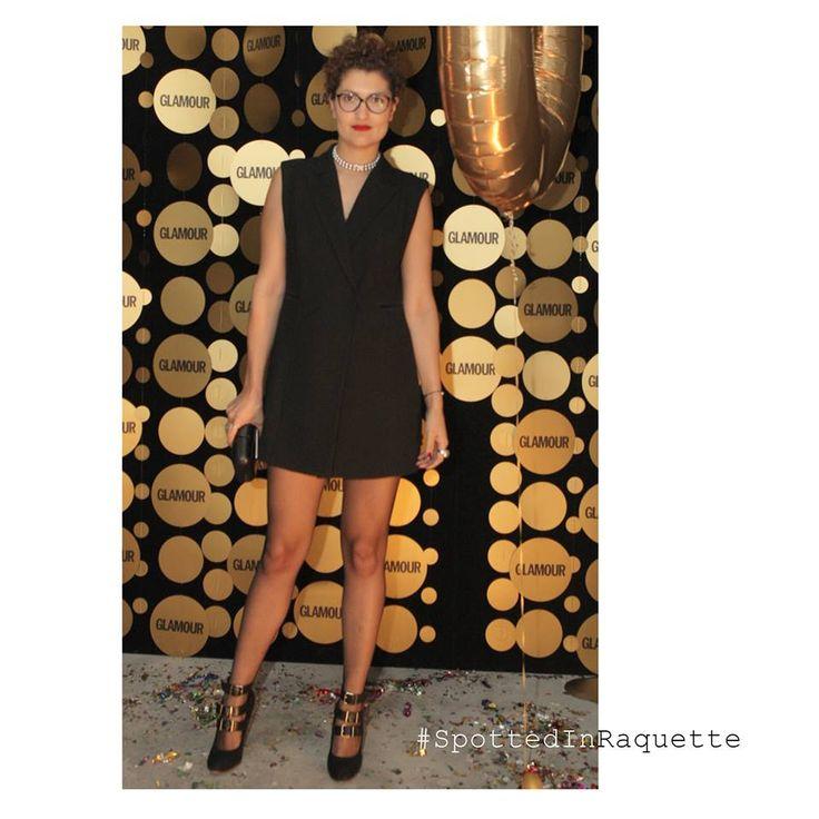 #SpottedInRaquette fashion stylist Alexandra Caspruf rocking a Raquette Tuxedo Dress || at GLAMOUR Romania 10 year anniversary party #maisonraquette