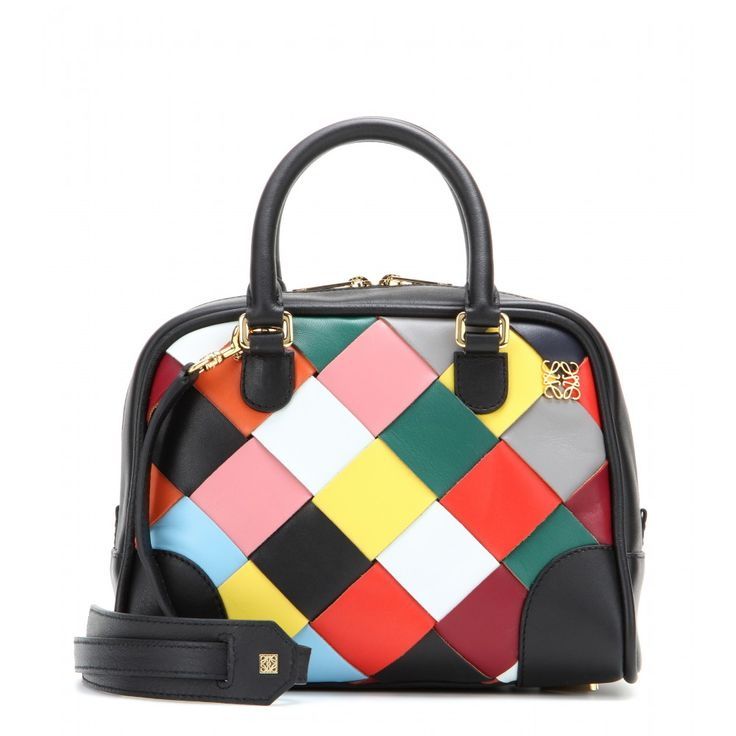Loewe - Amazona 75 Small leather shoulder bag - Loewe takes on the mini bag trend of the season with this charming revamp of the 'Amazona'. The woven, multicolour design will brighten up any ensemble. Hold by the top handle for ladylike chic or attach the shoulder strap for fuss-free styling. seen @ www.mytheresa.com