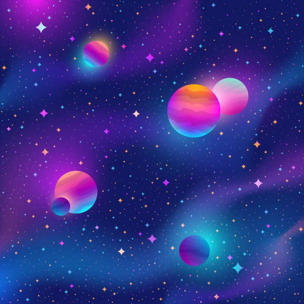 Space Background With Colorful Stars And Planets Vector Space Backgrounds Planets Art Planet Vector