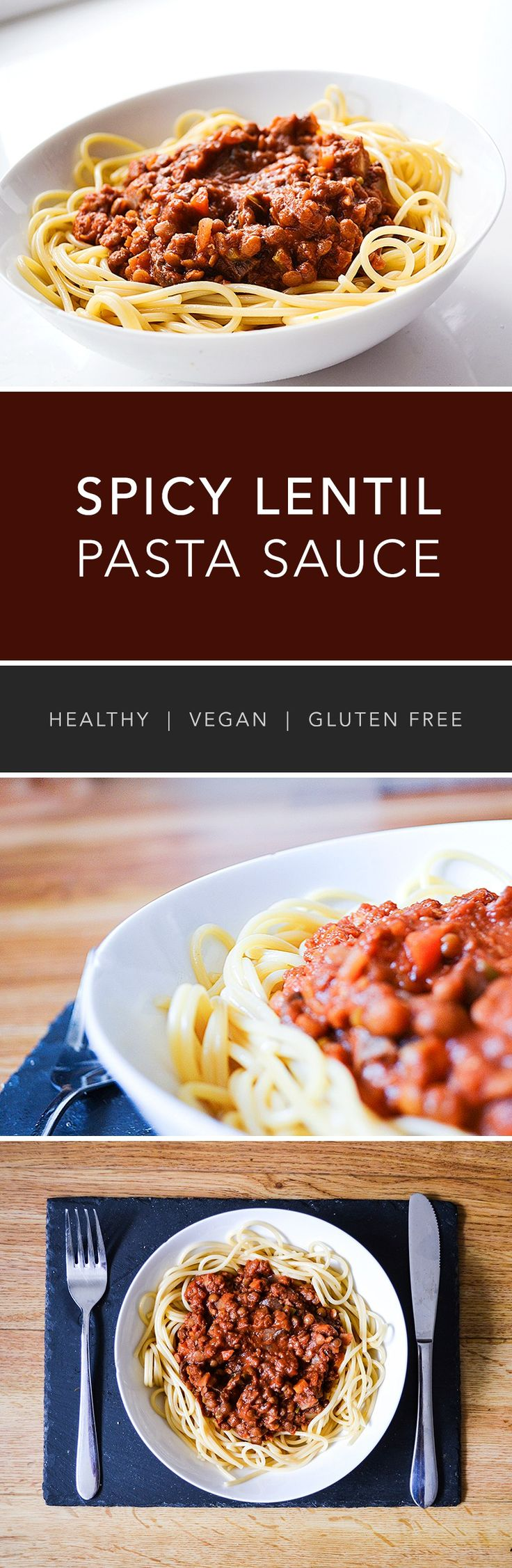 Healthy Spicy Lentil Pasta Sauce (Vegan) - you can make this in a slow cooker or on the stove top, depending on what works!
