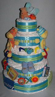 How to Make a Diaper Cake: 11 steps (with pictures) - wikiHow  - Great idea, just needs to be pink!