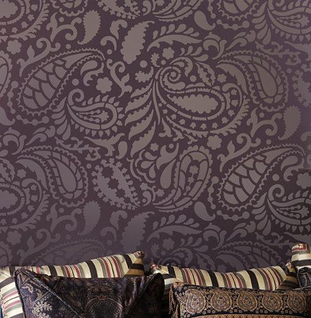 Paisley Allover Wall Stencil Pattern - Reusable wall stencils for DIY decor - Indian designs paisley stencil by CuttingEdgeStencils on Etsy https://www.etsy.com/listing/82396610/paisley-allover-wall-stencil-pattern