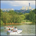 Johannesburg, Gauteng: Zoo Lake, with the Hillbrow Tower and Johannesburg Hospital