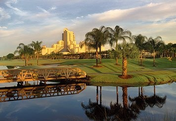 13) Orlando World Center Marriott: Built on over 200 acres of lush tropical landscape, our championship golf, award-winning cuisine, and relaxing spa services make us an ideal location for business or pleasure in Orlando. Our resort's location, 1.5 miles from Walt Disney World Resort in the Lake Buena Vista area, offers convenient access to all local area attractions.