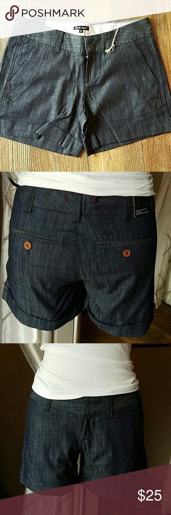Dark denim jeans shorts Dark denim jeans shorts with cuff. Dear John Shorts Jean Shorts
