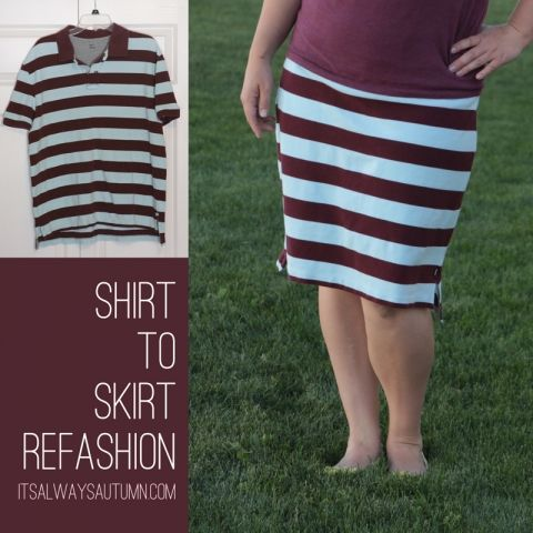 Yesterday I shared how I took a baby shirt and refashioned it into a baby skirt in just a few minutes, using the sleeves to create an easy yoga waistband. Today I'm sharing the grown-up version: I used the same process to turn this men's polo shirt ($2 at a yard sale) into a skirt …