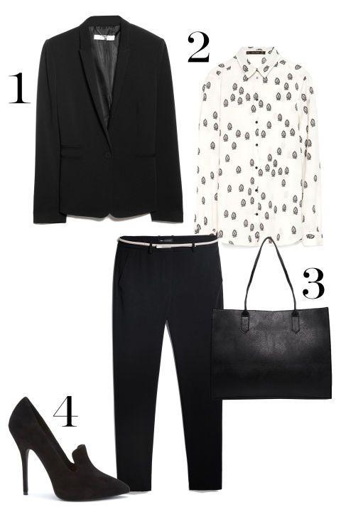 1. Mango Suit Blazer, $79.99; mango.com. 2. Zara Contrasting Print Blouse, $49.90; zara.com. 3. ASOS Structured Shopper Bag with Removable Clutch, $52.32; asos.com. 4. Mango Suit Slim-Fit Trousers, $44.99; mango.com. 5. Forever 21 Pointed Loafer Pumps, $29.90; forever21.com.