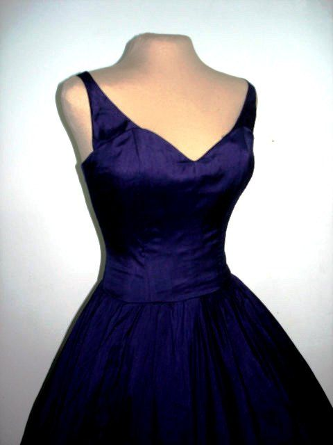 Vintage 50's. Simply sexy elegant dress made from beautiful deep blue satin! Stunning for an evening out, prom, or ball gown. Simple and beautiful, amazing!