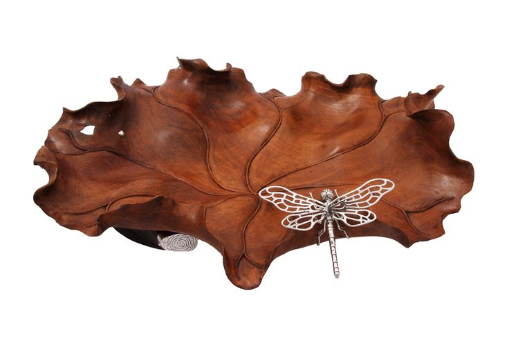 Carved from one single piece of teak wood, this beautiful lotus leaf design decorative bowl is adorned with Sterling silver dragonfly and liana wood to act as base.   A perfect decorative item to bring a natural touch to your home.