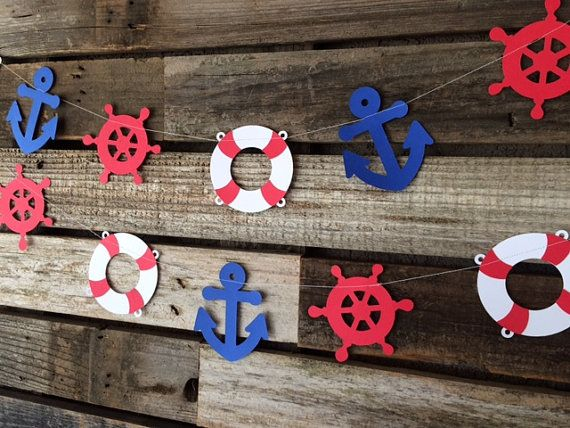 Nautical Party Garland- Anchor, Life Ring, and Ship Wheel- Under the Sea, Baby Shower, Birthday Party, Beach Party
