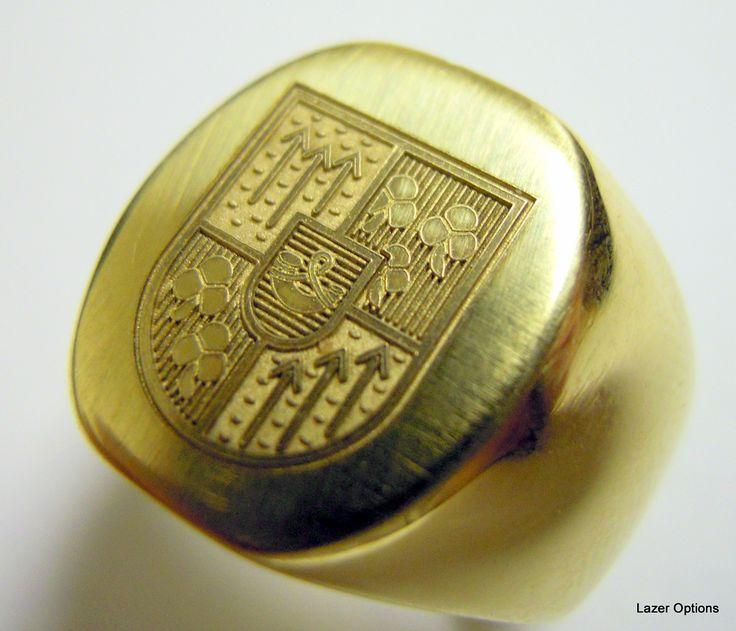 Laser Engraving on 18ct Yellow gold Signet ring. Amazing detail.Laser engraving was done by Lazer Options ,Cape Town