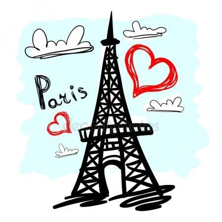 Mano negra dibujado Torre Eiffel Vectores De Stock Sin Royalties Gratis