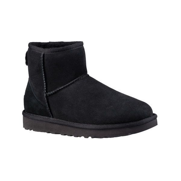 Women's UGG Classic Mini II Bootie ($140) ❤ liked on Polyvore featuring shoes, boots, ankle booties, black, casual, casual shoes, ugg boots, short black boots, black booties and leather boots