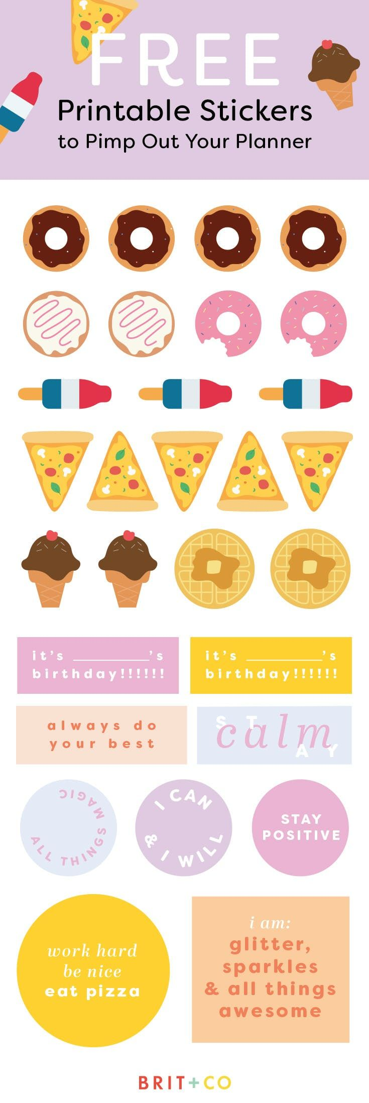 Add Personality to Your Planner With These Free Printable Stickers | Brit + Co