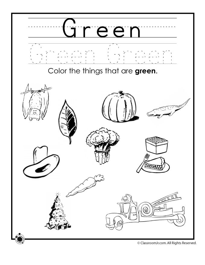 things that are green coloring pages | Learning Colors Worksheets for Preschoolers Color Green ...