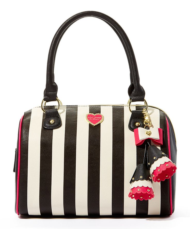 Loving this Betsey Johnson Black & White Stripe Satchel on #zulily! #zulilyfinds